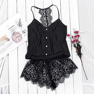 Conjunto De Pijama Negro Correa De Ropa De Dormir De Satén para Mujer Camis Top Shorts De Encaje Floral Lencería Sexy Pijama Femme S/Negro