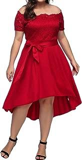 Women's Plus Size Retro Floral Lace Halter Ruched Off- Shoulder Wedding Hi-Low Cocktail Party Evening Dress