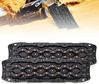 FieryRed Traction Tracks - 2 Pcs Traction Mat Recovery for Sand Mud Snow Track Tire Ladder 4X4 - Traction Boards, Black.
