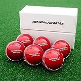 FORTRESS Cricket 'Incrediballs' [6 Pack] - Senior/Junior Cricket Balls - Pink or Red Cricket Training Ball (Red, Junior)