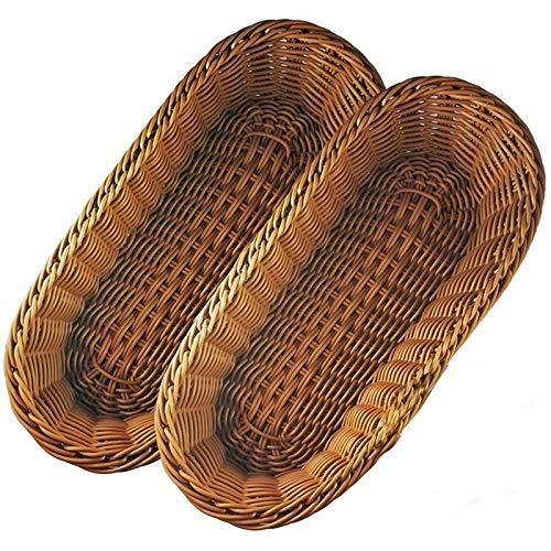 Ycxydr Cesta de pan tejida de frutas y verduras de ratán, cesta de fermentación multimimbre para hornear de pan, 2 piezas de 36 x 14 cm (color: marrón)