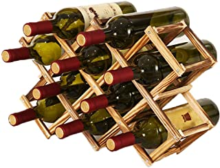 Porte Bouteille Pliable en Bois, Casier à Bouteille en Bois, Casier à vin en Bois Massif Diamant pour Cuisine à Domicile, ...