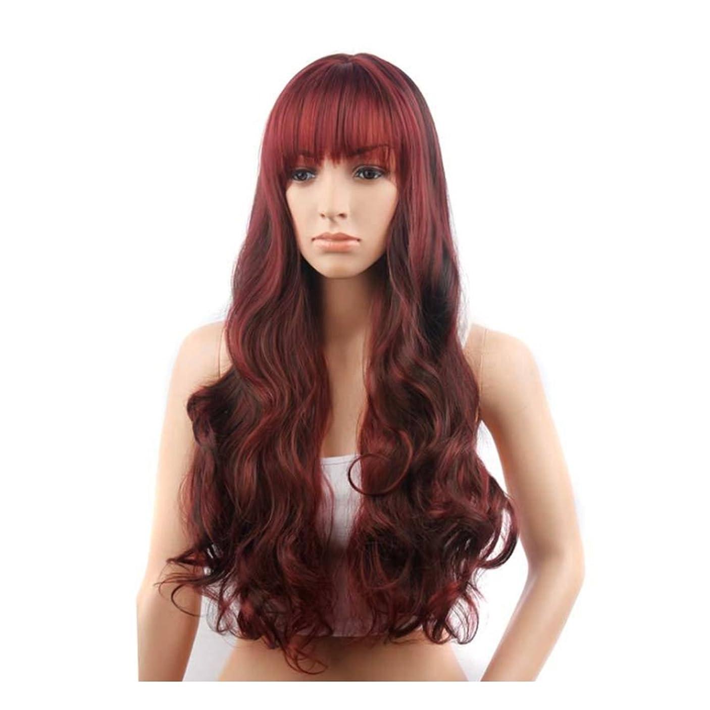 債務減衰価格Koloeplf 女性のための長いカーリーウィッグとトウモロコシフラットバンズとフェイスウィッグを変更25inchの長さのための髪の耐熱ウィッグ(ワインレッド) (Color : Wine red)