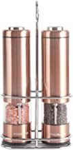 Phunaya Electric Salt and Pepper Grinder Set With Upgraded Motor | Complimentary 304 Stainless Steel Mill Stand | LED Light |Battery Operated | Adjustable Ceramic Coarseness |set of 2 (Copper)