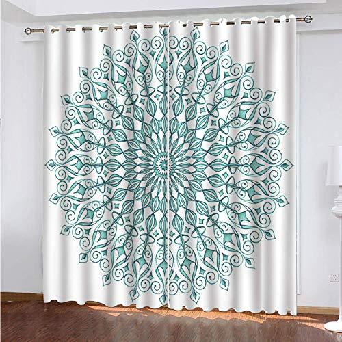 ZXPAG Cortina Aislante Para Dormitorio 3D Cortina Opaca Cortinas De Salón Y Dormitorio Moderno Aislantes Térmicas Con Ojales 2 Piezas - 280X245Cm - Estampado Floral Mandala
