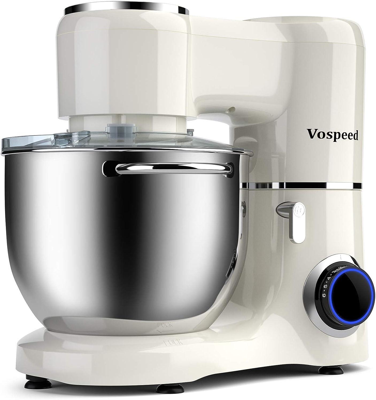 Vospeed batidora amasadora 1500W 8L de la torta del mezclador eléctrico de cocina batidora con tazón de acero inoxidable, batidor, gancho amasador, Bata por un horno, lavavajillas Seguro (blanco)