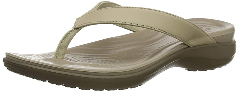 Crocs Women's Capri V Flip Flop   Casual Sandal With Extra Soft Footbed and Soft Leather Straps    Lightweight Beach Shoe