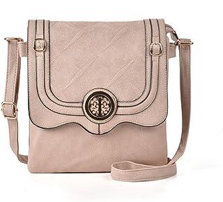 GLITZALL Women Simple PU Leather shoulder bag Vintage handbag Flap-Over Crossbody bag (Apricot)