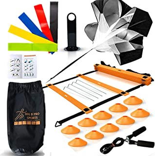 Big B Pro Sports Speed Agility Training Set - Includes Ladder, 10 Cones with Holder, Running Parachute, Jump Rope, Resista...