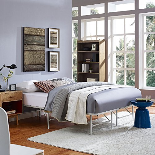 Modway Horizon Full Bed Frame In Gray - Replaces Box Spring - Folding Metal Mattress Bed Frame