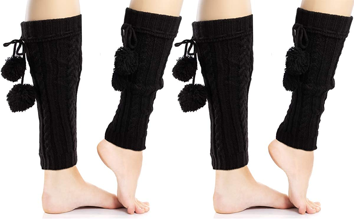 (2 Pack) Cozy Womens Leg Warmers For Women Black Cable Knit Chunky Yarn With Pom Poms