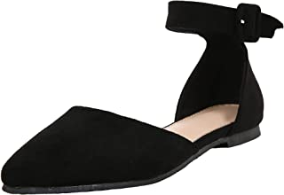 Ivay Women's Casual D'Orsay Pointed Toe Ballet Ankle Strap Buckle Comfort Flats Shoes