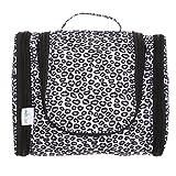 DMJSL Womens Medium Ladies Toiletry Travel Bag Hanging Toiletry Bag – Travel Makeup Organizer and Cosmetic Case, Travel Bag Organizer Toiletry TSA Approved, Black Leopard Print