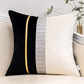 Yangest Black Patchwork Velvet Throw Pillow Cover with Gold Striped Leather Cushion Case Modern Luxury Pillowcase for Sofa...