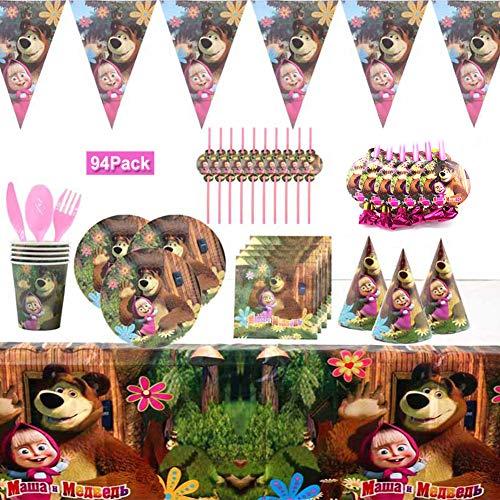 YUIP Mascha und der Bär Thema Partygeschirr-Set-94-Teilig, Biologisch Abbaubare Partydekorationen, Cartoon-Geburtstagsfeier-Zubehörset, für Jubiläum, Babytaufe, Grill