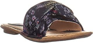 Born B.O.C Hayley Slip On Criss Crossed Flat Sandals, Navy Floral, 6 US / 36.5 EU