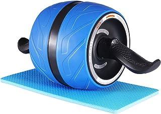 [HAYASI最新強化版] エクササイズローラー 腹筋ローラー 自動リバウンド スリムトレーナー 知能ブレーキ 超静音エクササイズホイール ABホイールローラー 膝を保護するマット付き 筋トレ トレーニング アシスト機能 ブルー 青い
