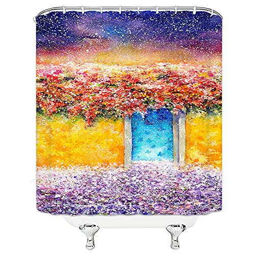 AFDSJJDK Duschvorhang Blumen Duschvorhänge Malerei Ziegel Wand Farbe Badezimmer Gardinen Kunst Design Wohnkultur Wasserdicht Andwith Haken