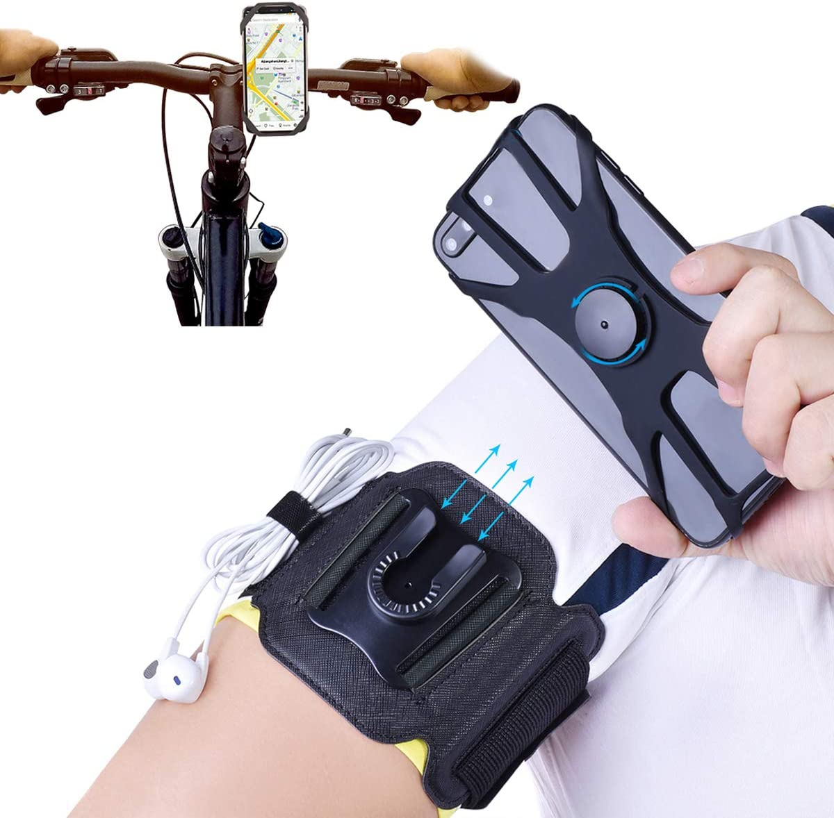 2 in 1 Cell Phone Armband for Running Detachable with Bike Phone Mount Silicone, 360° Rotatable Sports Armband, Universal Cell Phone Holder for Hiking Biking, Use 4 to 6.5 Inch Smartphones (Black)