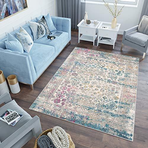 Tapiso Lazur Alfombra de Salón Dormitorio Juvenil Diseño Moderno Azul Gris Rosado Vintage Geométrico Friso 140 x 190 cm