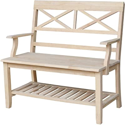 Amazon.com: Cherry Finish Hall Tree & Storage Bench by Home ...