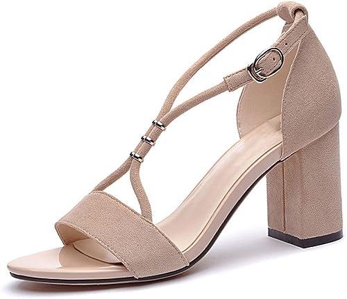 DKFJKI Talons Strass pour pour Femmes Open Toe Word Buckle Sandals Fashion Joker Robes  livraison gratuite