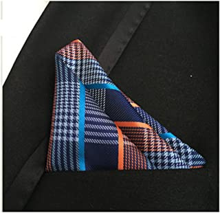 MENDENG Men's Brown White Plaid Stripe Pocket Square Formal Hanky Handkerchief