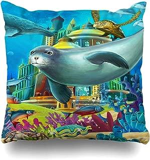 Ahawoso Throw Pillow Cover Fortress Water Underwater Castle Princess Chateau Children Andersen Aquatic Design Jellyfish Decorative Pillowcase Square 20