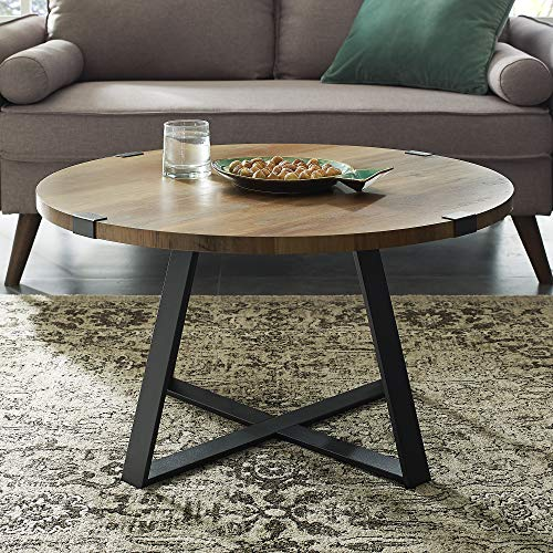 New 30 Inch Round Metal Wrap Coffee Table with Rustic Oak Finish