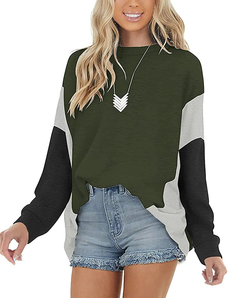 Naggoo Womens Color Block Long Sleeve Tops Batwing Casual Loose Tunic Shirts