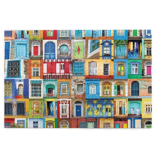 Delightful Doors and Windows Jigsaw Puzzles 1000 Pieces for Adults and Kids, Large Difficult Challenging Art Puzzle Game, Educational Intellective Toys Ideal for Relaxation, 29.7 X 19.8 Inch