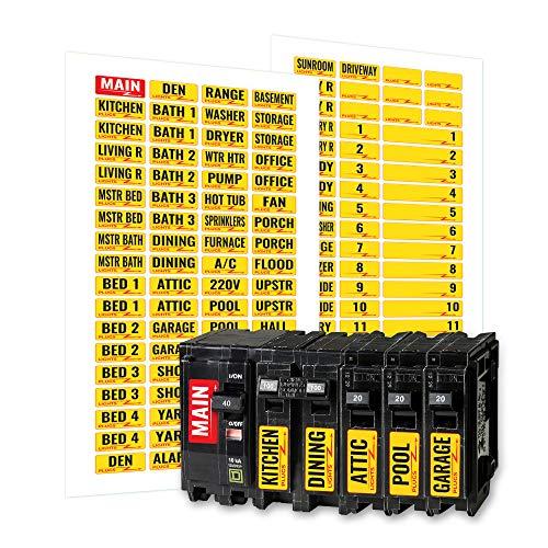 Linelax Circuit Breaker Box Labels – 129 Weatherproof Fuse Box Stickers
