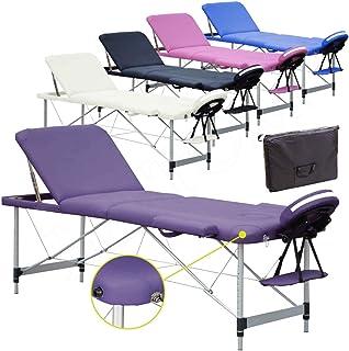 Beltom Camilla de Masaje 3 Zonas Aluminio portatil Mesa Cama Banco Plegable masajista - Purpura