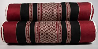 NRG Thai Massage Bolsters, Set of 3-100% Cotton/Poly Blend Cover with Kapok Filling - Thai Mattress Cushions/Pillows for Massage, Yoga and Meditation - 23 Inches x 5.5 Inches - Color: Black/Red