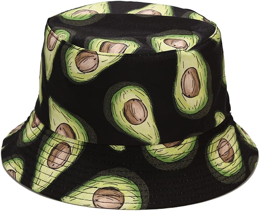 Avocado Print Bucket Hat Funny Fruit Pattern Fisherman Cap Reversible Packable Sun Hats for Women, Men