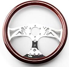 "Top10 Racing 380mm 15"" Inch Grant Classic Nostalgia Style Wood Grain Steering Wheel Slotted 3 Spoke Steering Wheel Riveted Light Wood Grip (Girl pattern)"