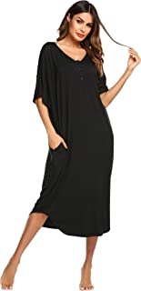 Ekouaer Nightgowns for Women Button-Down Sleepwear Short Sleeve Nightshirt Plus Size Night Wear S-XXL