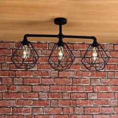Industrial Steampunk Style Satin Black 3 Way Bar Pipework Ceiling Light Fitting #4