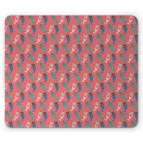 Cartoon-muismat, grappig patroon met magische zeemeermin-katten met hartjes, anti-slip rubberen muismat van de rechthoek, donkerkoraalrood meerdere kleuren