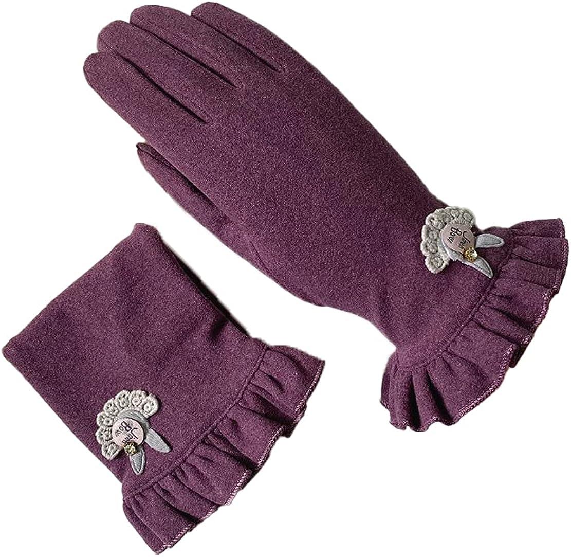 ATHX Winter Women's Touchscreen Full Finger Ruffed Wrist Windproof Driving Gloves