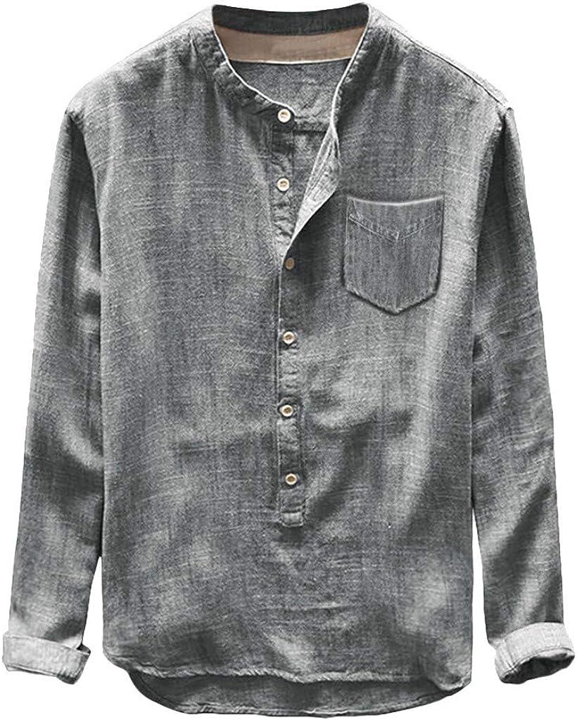 Men's Cotton Linen Shirts Fashion Button Down Designer Athletic Workout Active Jerseys Sweatshirts Causal Tops