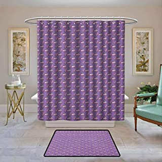 Customized Bathroom Shower Curtain Motorcycle,Vintage Deep Deck Girlie Scooters Lined Up on a Purple Background, Blush Dark Taupe Lavender,Waterproof Polyester Fabric Bath Curtain Design 72