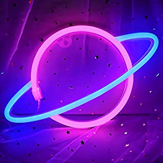 Planet Neon Light, Coolqiya Led Sign Neon Light Wall Decor Night Lights USB or Battery Powered Neon Decorative Lights for ...
