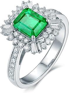 Daesar Anelli Donna Fidanzamento Oro Bianco 18K, A Fiore 4 Griffe Smeraldo Rettangolo 1.5ct con Diamante 0.67ct Anello in ...
