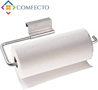 COMFECTO Over The Cabinet Door Paper Towel Holder for Kitchen Bathroom, Stainless Steel 12 Inch Paper Towel Roll Holder