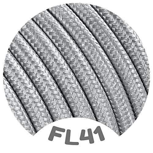 Flairlux Textilkabel für Lampe silber 3 Meter 3 adrig Stoffkabel (3x0,75mm²) - FL41