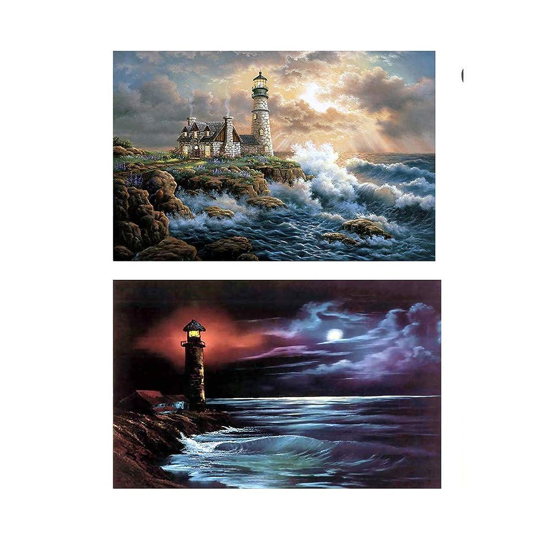 Twuky 2 Pack 5D DIY Diamond Set Full Diamond Diamond Painting Living Room Wall Stickers,Lighthouse and Waves(14X16inch/35X40CM)