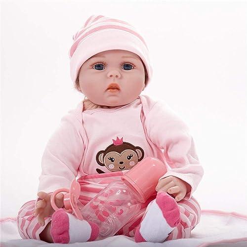 Hongge Reborn Baby Doll,Lebensechte Silikon Reborn Baby Puppe Weißnachten Geburtstag 55cm