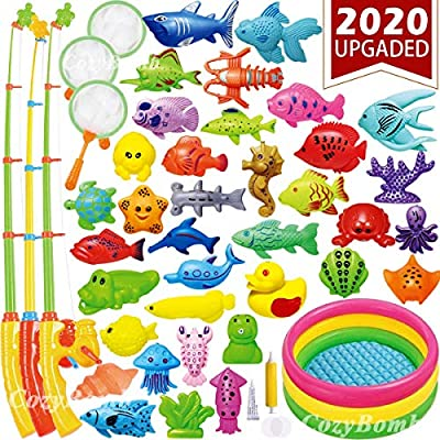CozyBomB Magnetic Fishing Toys Game Set for Kids Water Table Bathtub Kiddie Pool Party with Pole Rod Net, Plastic Floating Fish-Toddler Color Ocean Sea Animals Age 3 4 5 6 Year (XXX-Large)