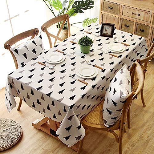 Brandless Christmas Tree Printed Tablecloth 100% Cotton Thickened Canvas Table Cloth Rectangule Cover Towel For Kitchen Dinning Tabletop Home Decor